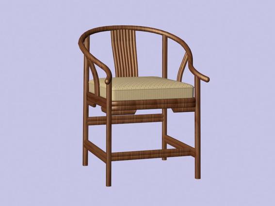 Vintage wood arm chair 3d rendering