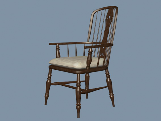 Windsor chair with arms 3d rendering