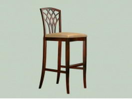 Vintage wood bar stool 3d preview