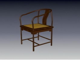 Vintage wood tub chair 3d preview