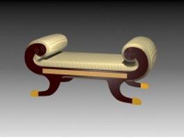 Antique ottoman stool 3d preview