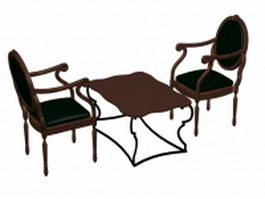 Antique tea table sets 3d preview