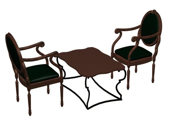 Antique tea table sets 3d rendering