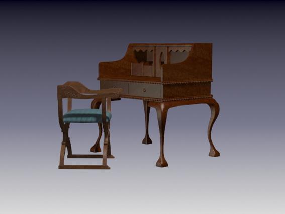 Antique secretaries desk and chair 3d rendering