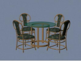 Retro dining sets 3d model preview