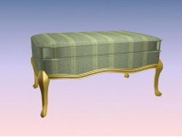 Upholstered foot stool 3d preview
