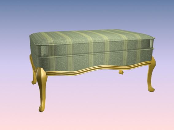 Upholstered foot stool 3d rendering