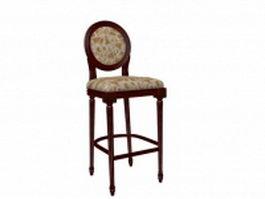 Antique wooden bar stool 3d preview