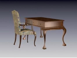 Antique office desk and chair 3d model preview