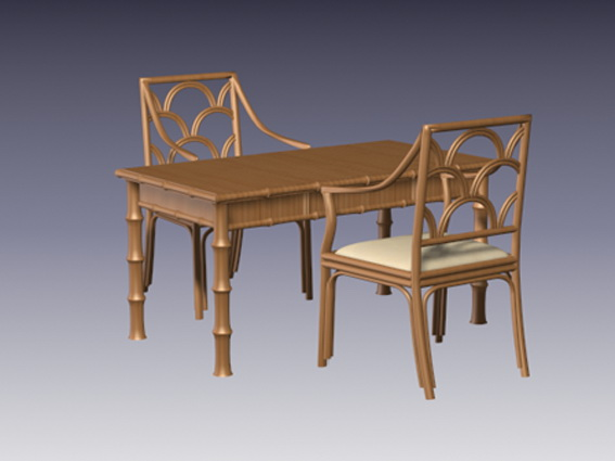 Bamboo dining table and chairs 3d rendering