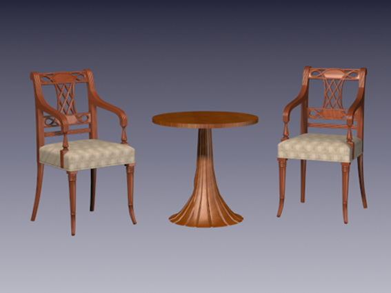 Vintage tea table and chairs 3d rendering