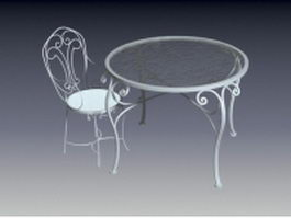 Metal accent table and chair 3d preview