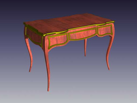 French country writing desk 3d rendering