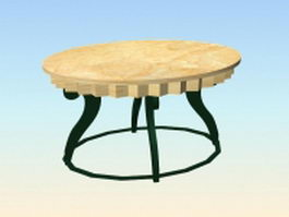 Oval wood dining table 3d model preview