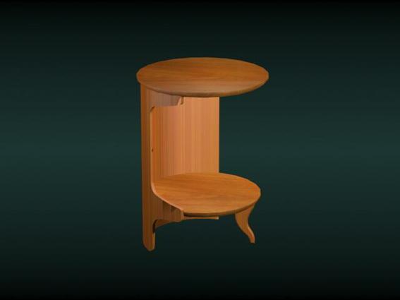 Antique round corner table 3d rendering