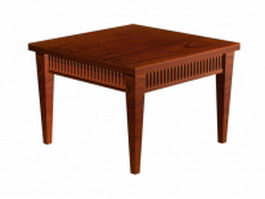 Square wood dining table 3d model preview