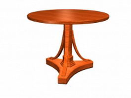 Antique round tea table 3d preview