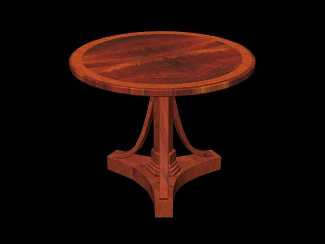 Antique round tea table 3d rendering