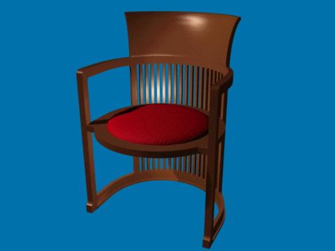 Antique wood barrel chair 3d rendering