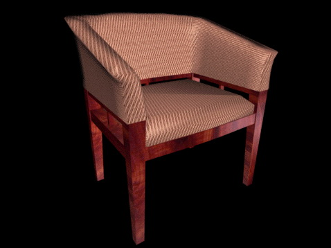 Upholstered tub chair 3d rendering