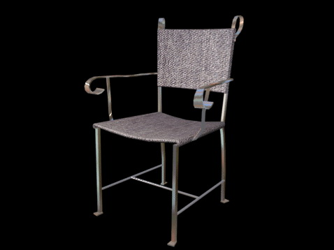 Canvas lawn chair 3d rendering
