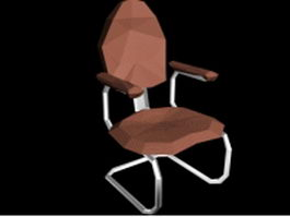 Cantilever chair with arms 3d model preview