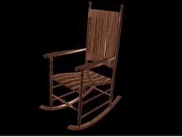 Antique wooden rocking chair 3d preview