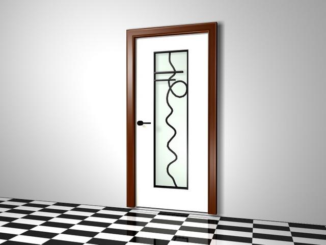 Interior door with decorative glass 3d rendering