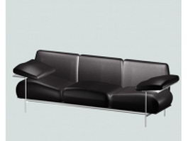 Black leather sofa with arm rest 3d model preview
