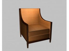 Orange fabric accent chair 3d model preview