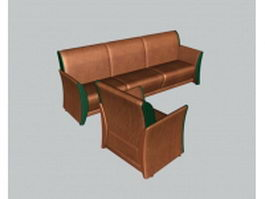 Brown leather sofa set 3d preview