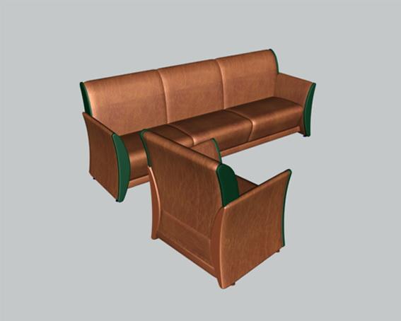 Brown leather sofa set 3d rendering