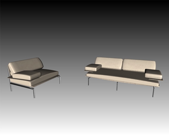 White leather sofa set 3d rendering