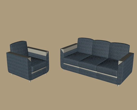 Blue fabric sofa sets 3d rendering