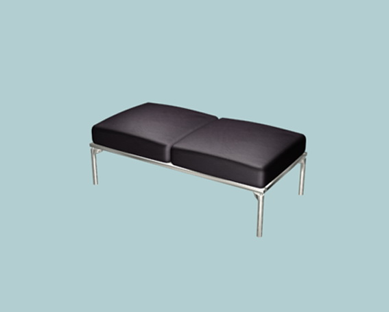 Modern black leather ottoman 3d rendering