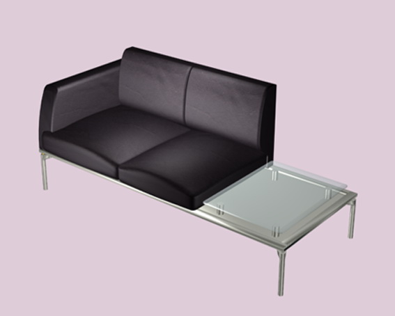 Leather sofa with attached table 3d rendering