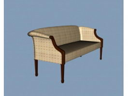 Vintage fabric settee 3d model preview