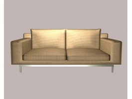 Tan fabric loveseat 3d preview