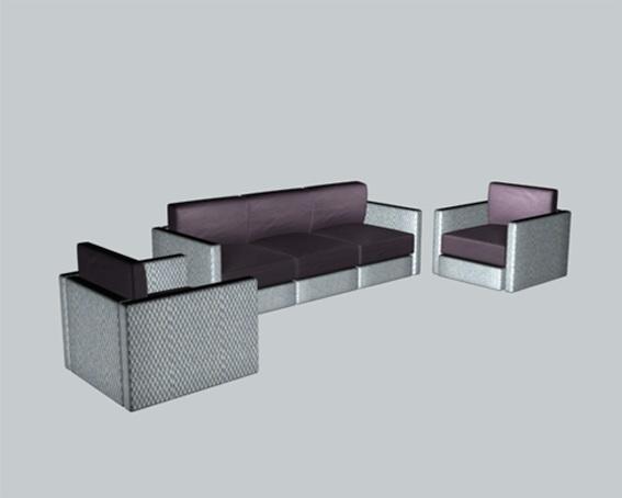 Modern living room sofa sets 3d rendering