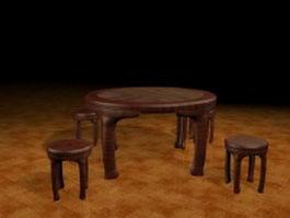 Antique dining sets 3d model preview