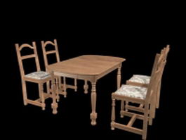 French country dining room sets 3d model preview