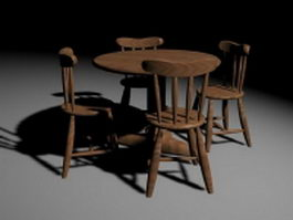Wood patio dining sets 3d model preview