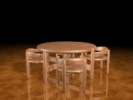 Round wood dining sets 3d preview
