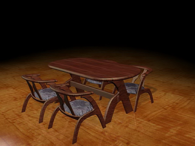 Modern wood dining furniture 3d rendering