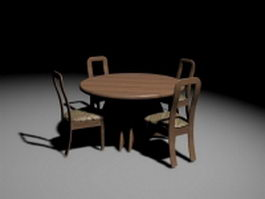 Round dining table and chairs 3d model preview