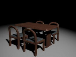 Restaurant table and chairs 3d preview