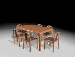 7 Piece dining set 3d model preview