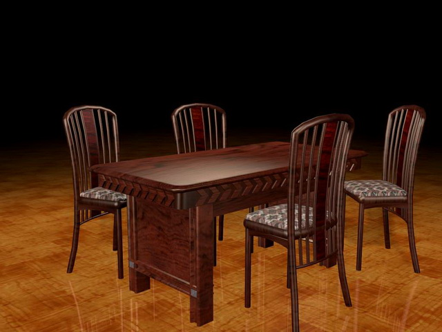 Traditional redwood dining sets 3d rendering