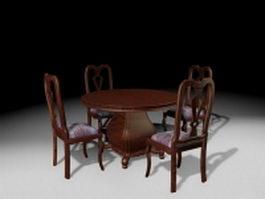 Antique furniture dining room sets 3d model preview