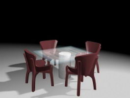 Outdoor glass top dining sets 3d model preview
